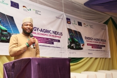 Dr. Sanusi Ohiare, Executive Director, Rural Electrification Fund, giving opening remarks at the 'Energy-Agric Nexus for Rural Economic Development