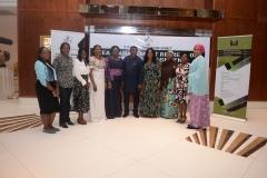 L-R Rosemary Edem (T.A to MD), Susan Igata (Senior Social Specialist PMU), Rhoda Mando (Head Audit), Solanke Abike (S.A to MD on Finance), Adejoke Odumosu (Head PMU), Goddy Jedy Agba (HMSP), Damilola Ogunbiyi (MD, REA), Rakiya Ahman (Assistant Director HR/Admin), Rose Udoh (Zonal Coordinator South South) and Amina Sugha (Head Legal)