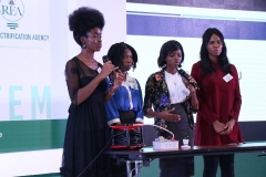 Students, Federal University of Agriculture, Benue State during their Presentation of the project Shark Tank at the Rural Electrification  Energizing Education Programme female Stem Workshop in Lagos