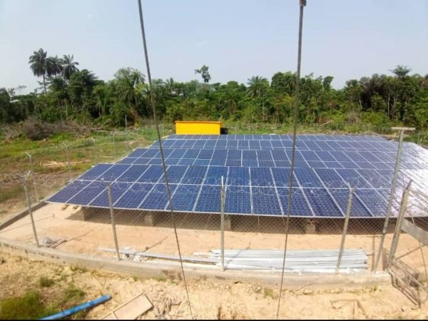 Installed Solar Panel for 67.32KW Solar Hybrid Mini Grid at Akipelai in Ogbia Local Government of Bayelsa State